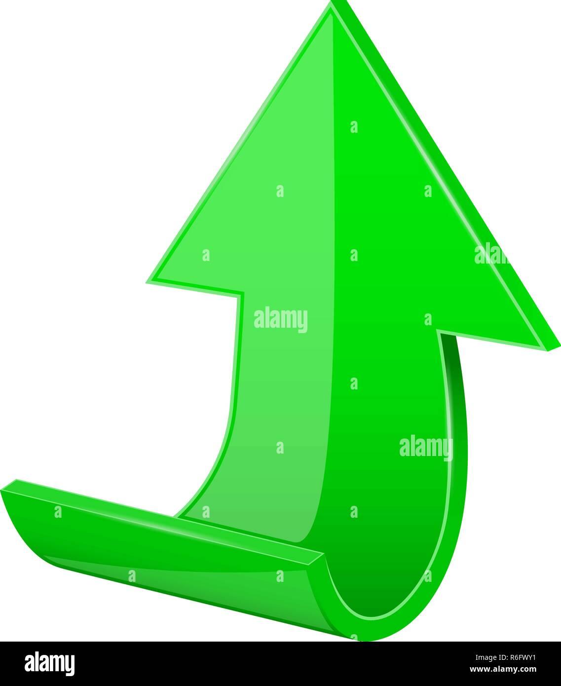 Flecha. Green subiendo iconos 3D. Imagen De Stock