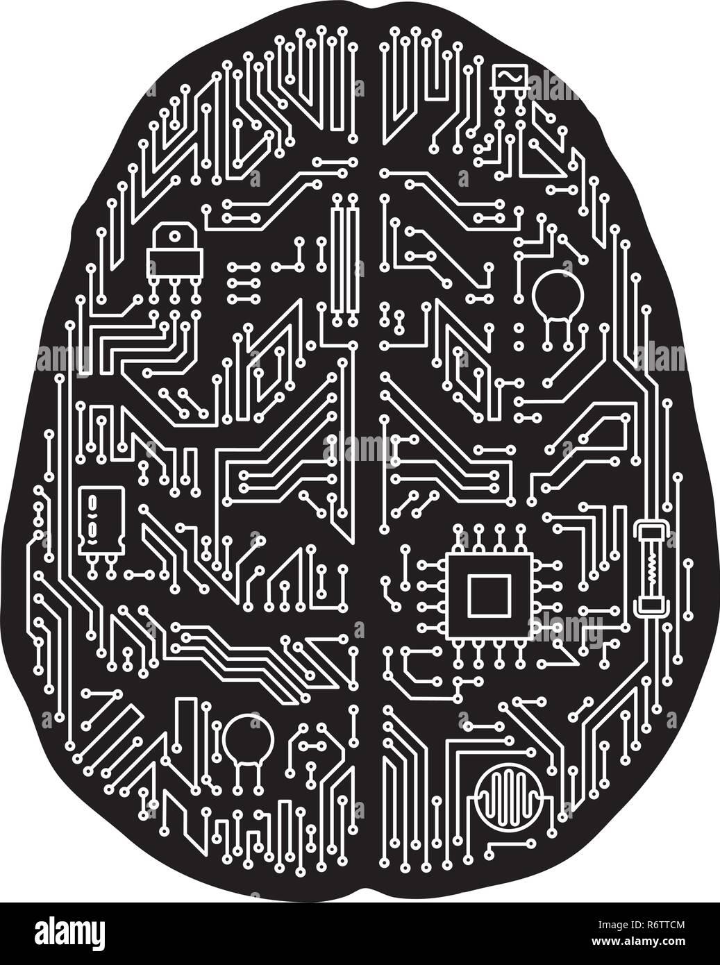 Motherboard cerebro humano aislado en forma de ilustración vectorial. Blanco y negro y el concepto de tecnología de inteligencia artificial. Ilustración del Vector