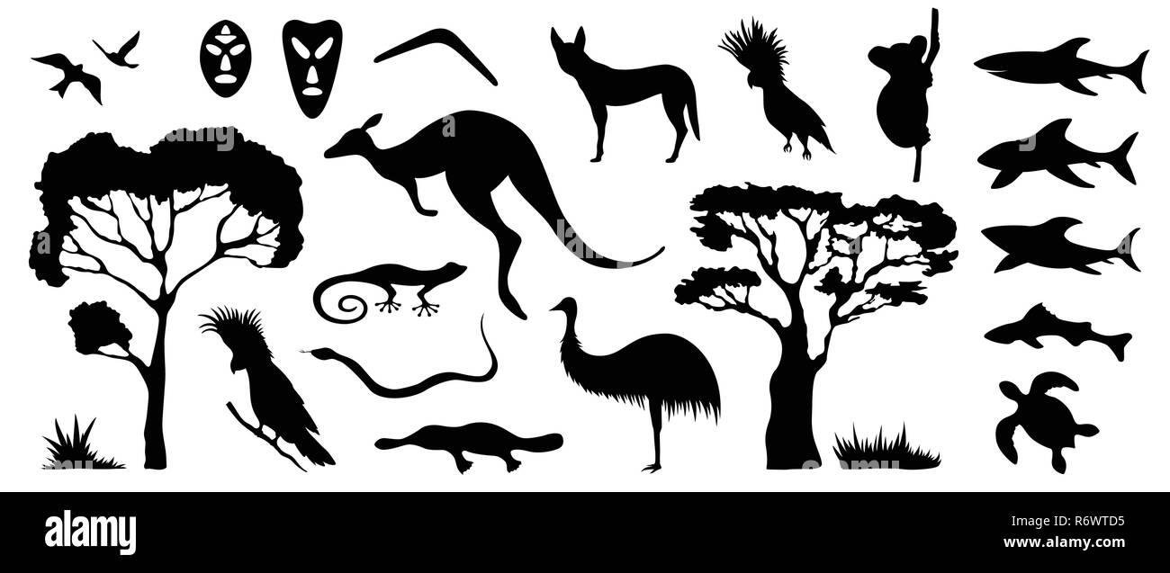 Conjunto de siluetas de animales y aves de Australia. La naturaleza de Australia. Aislado sobre fondo blanco. Silueta negra de árboles, canguro, máscaras, sh Imagen De Stock