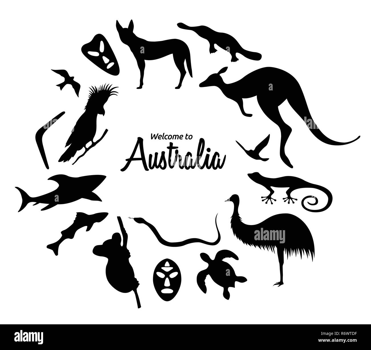 Conjunto de siluetas de animales australianos. La naturaleza de Australia. Aislado sobre fondo blanco. Silueta negra de Kangaroo, máscaras, tiburón, boomerang, Imagen De Stock