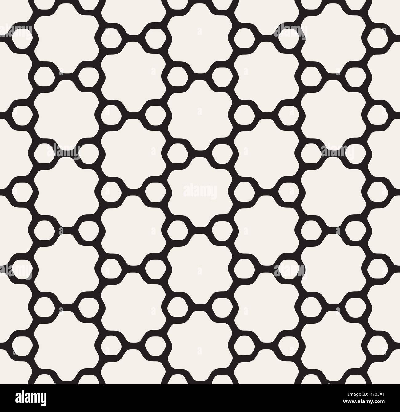Blanco y negro perfecta vector floral redondeado estrella hexagonal y describió círculos patrón Foto de stock