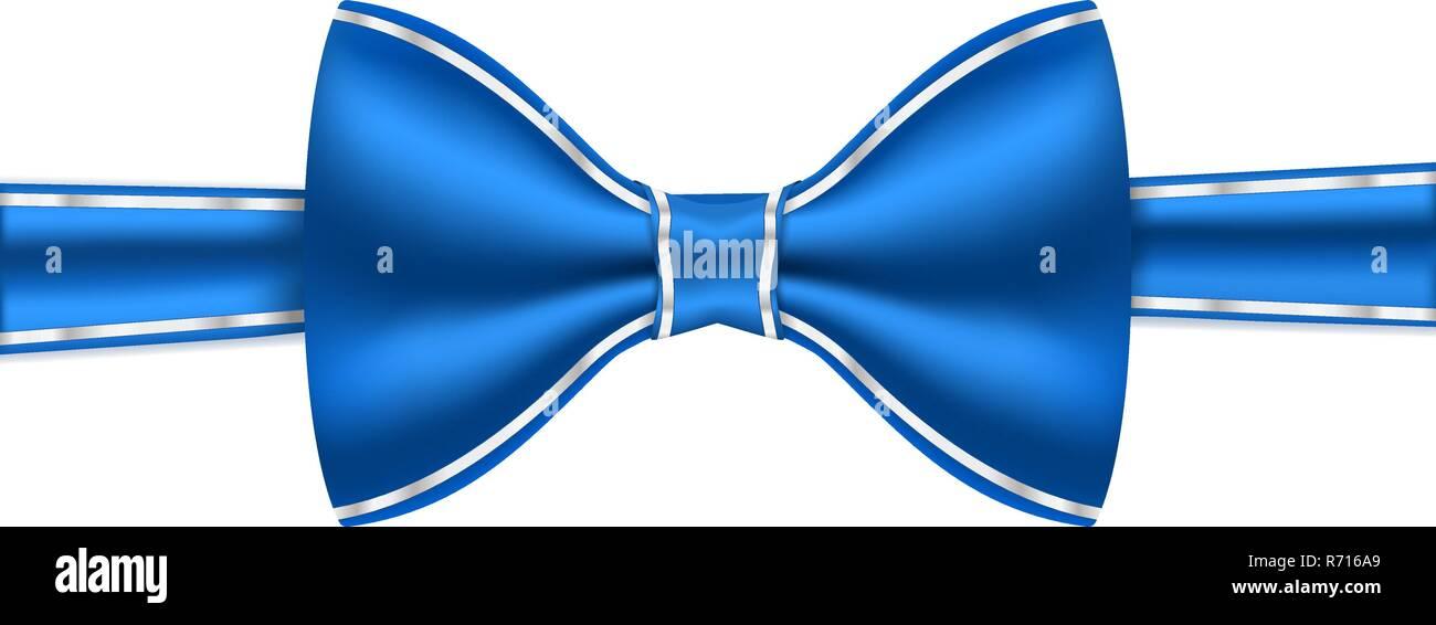 Pajarita azul con marco blanco cosido Ilustración del Vector