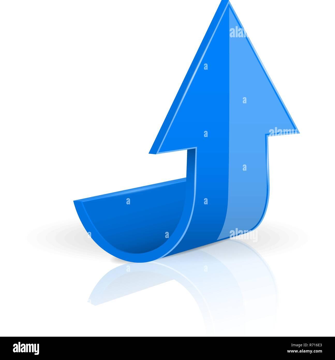 Flecha. Moving Up azul iconos 3D. Imagen De Stock