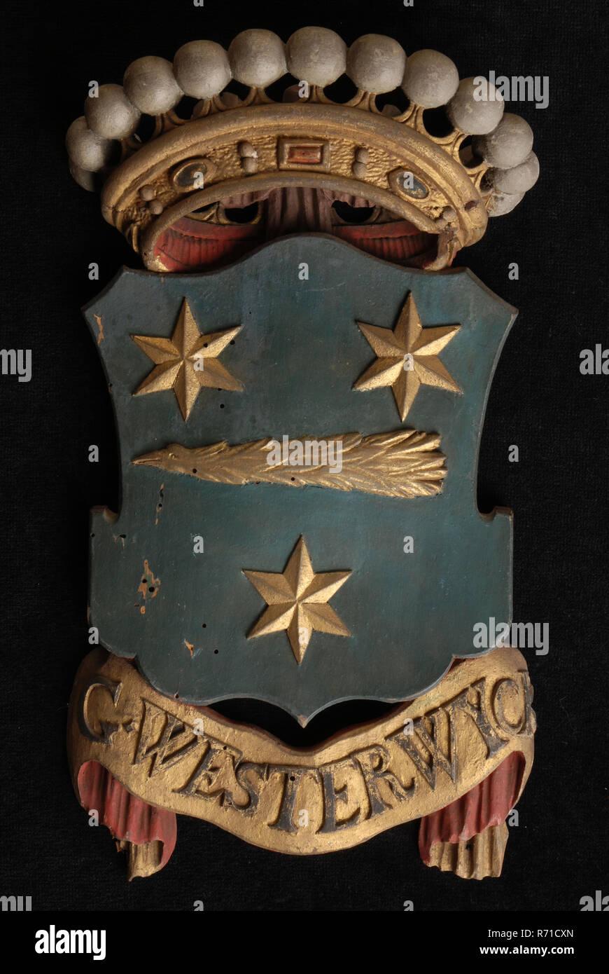 Madera Tallada Escudo Coronado Incluyendo El Nombre G Westerwyck