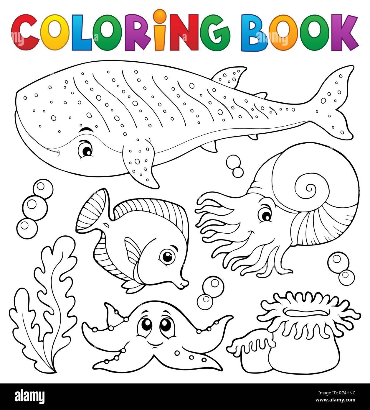 Libro Para Colorear La Vida Marina Tema 1 Foto & Imagen De