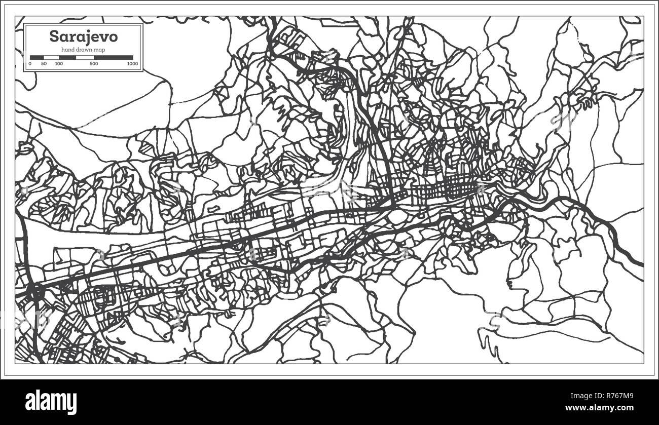 Sarajevo Bosnia Y Herzegovina Mapa De La Ciudad En Estilo Retro