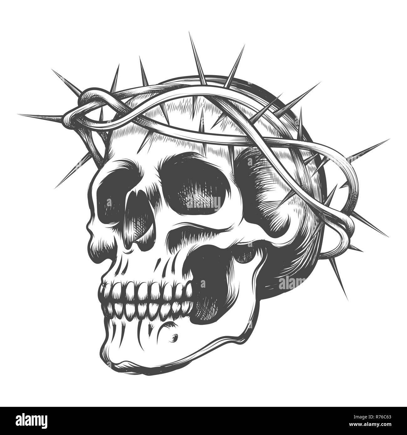 Cráneo Humano En Corona De Espinas Dibujado En Estilo De Tatuaje
