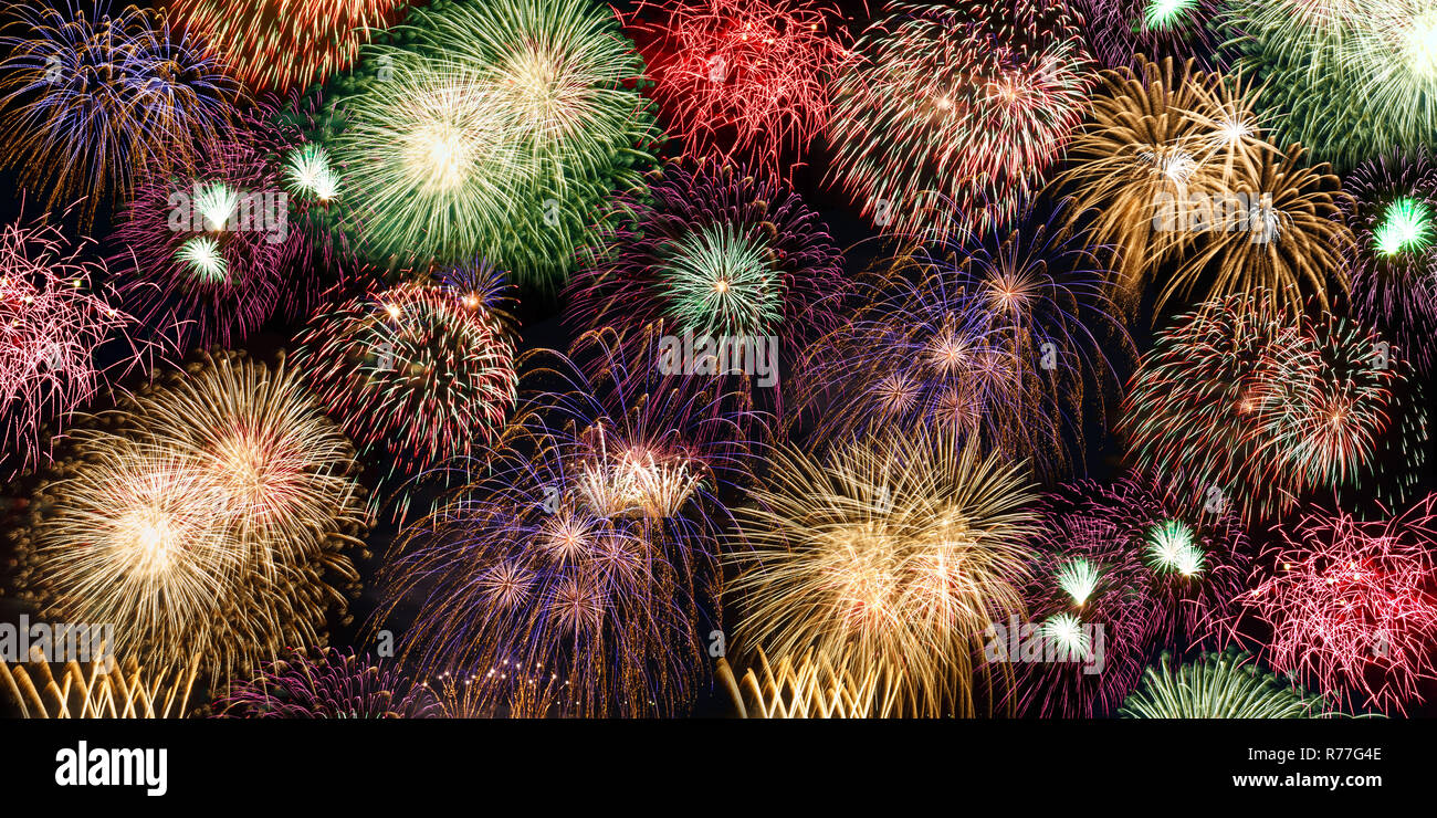 De víspera de Año Nuevo con fuegos artificiales Fuegos artificiales año años banner Antecedentes Antecedentes Foto de stock