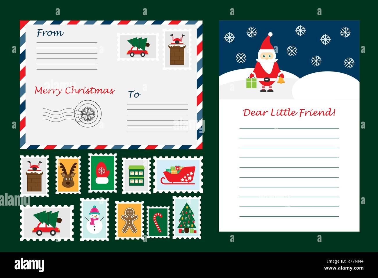 Juego De Navidad Carta De Santa Claus Sobres Y Sellos Para Los