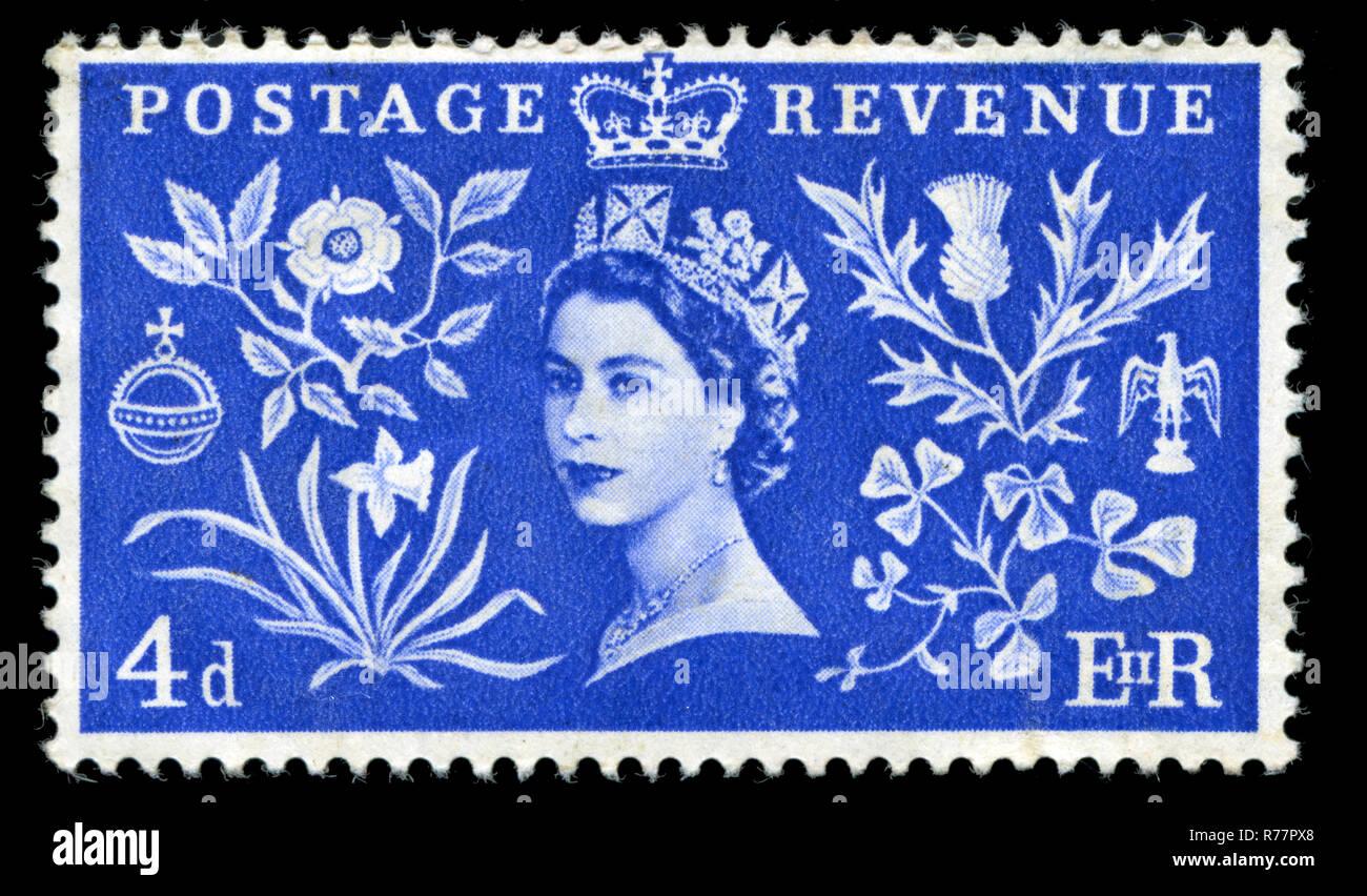 Sello de Gran Bretaña en la coronación de la Reina Elizabet II serie publicada en 1953 Foto de stock