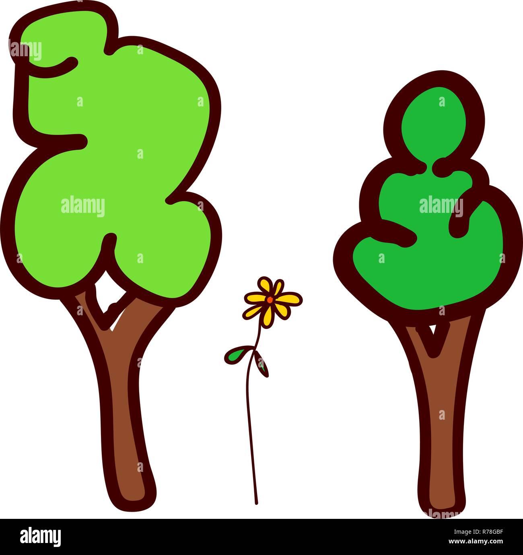 árboles Y Flores En El Estilo De Dibujo Para Niños Ilustración