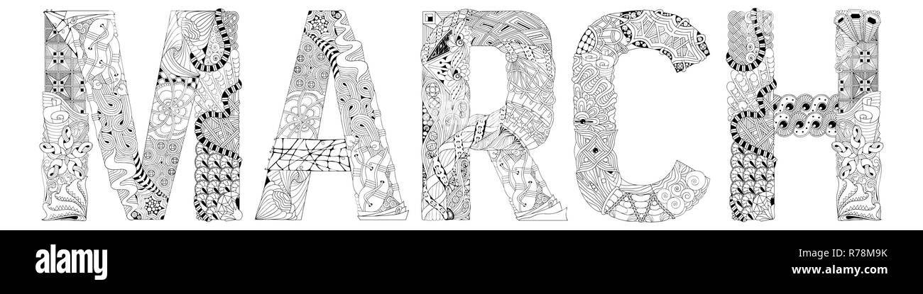 Palabra De Marzo Para Colorear Vector Zentangle Objeto Decorativo