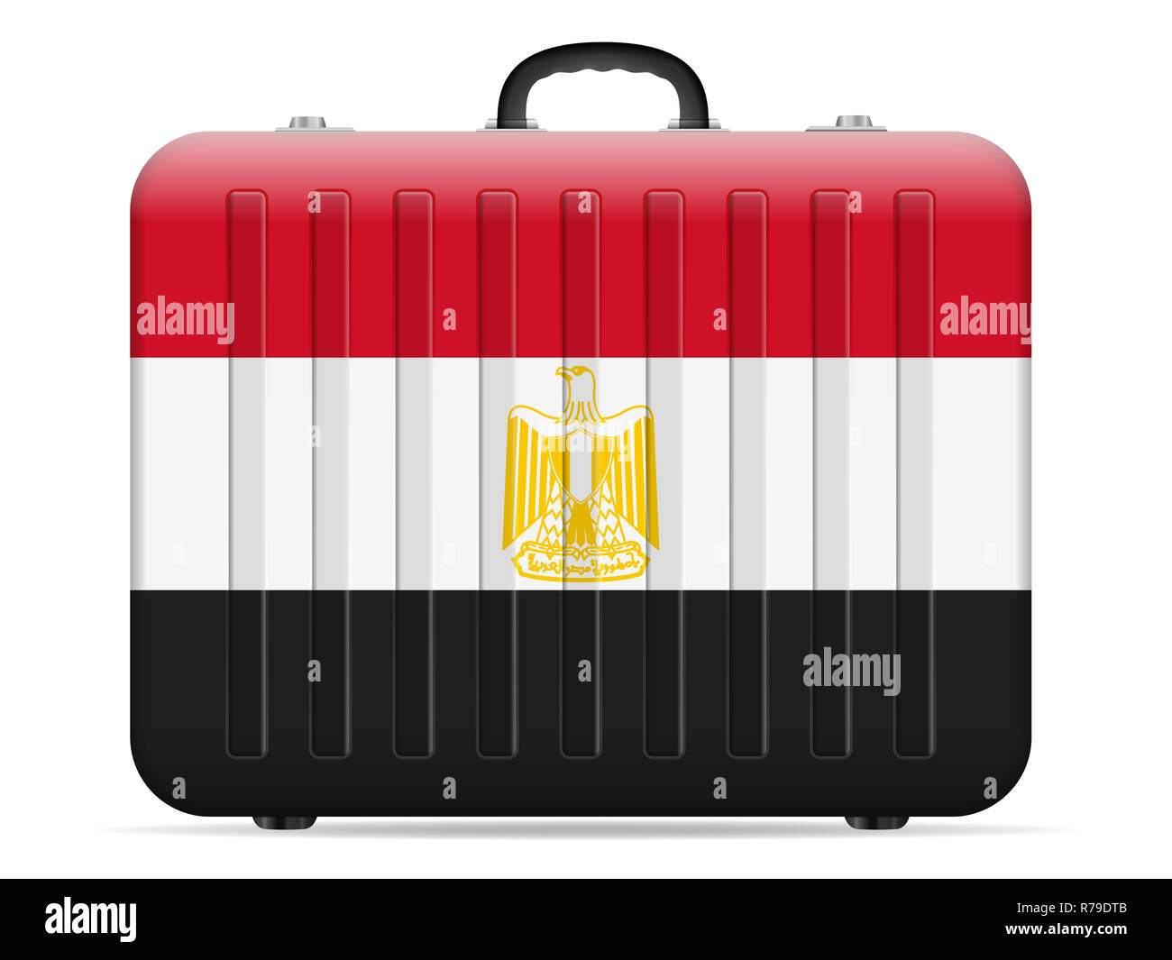 e031c36d9 Egipto bandera maleta de viaje sobre un fondo blanco. Ilustración vectorial.  Imagen De Stock