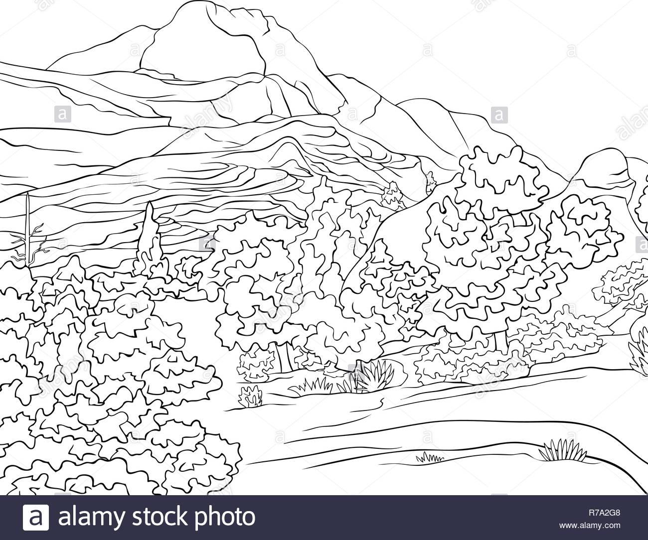 Una Naturaleza Paisaje Con Montañas árboles Y El Río Imagen