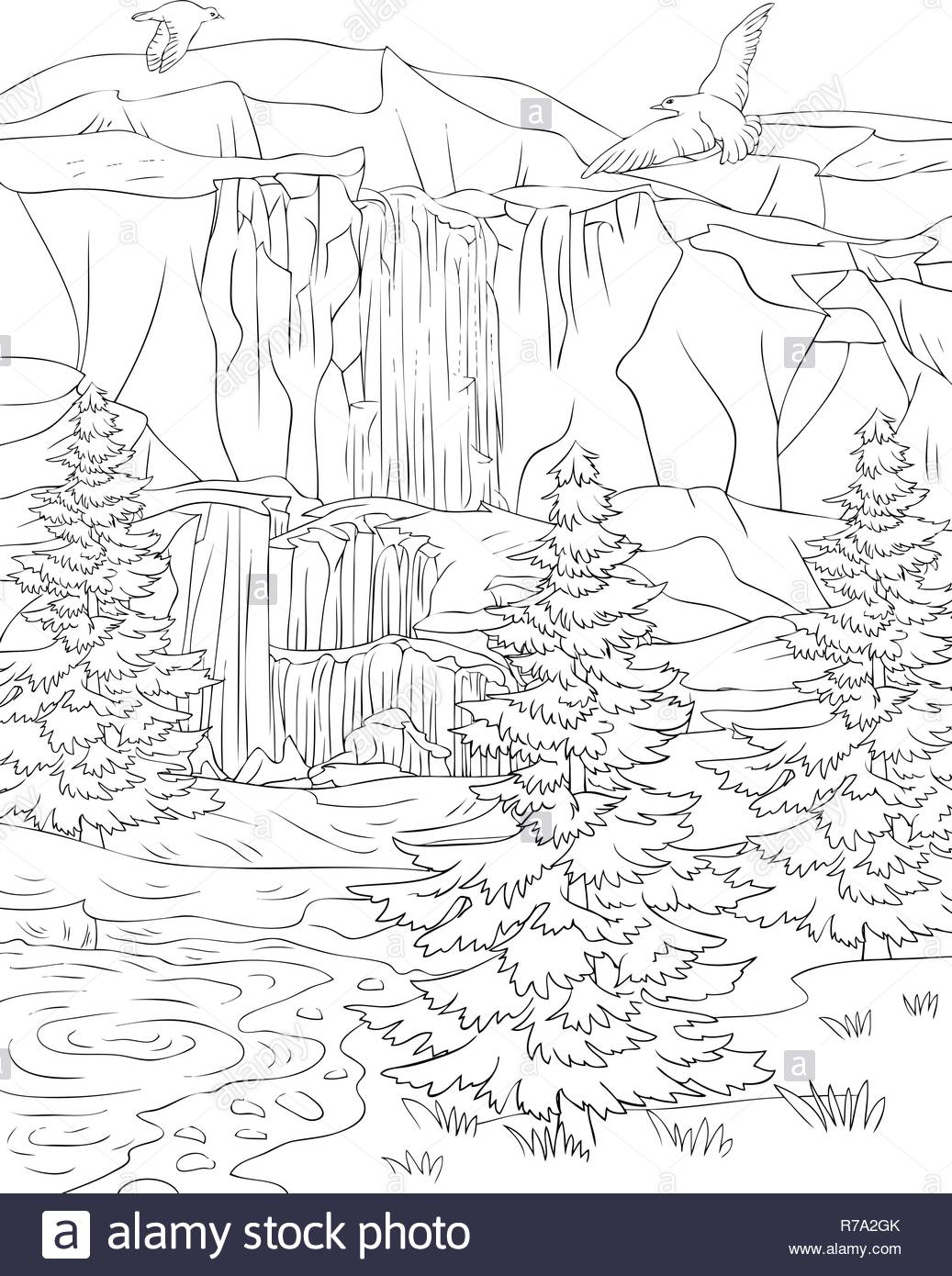 La Naturaleza Del Paisaje Con Una Cascada Y Piedras Con
