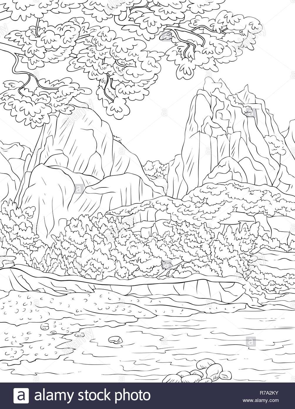 Una Naturaleza Paisaje Con Río Montañas Y árboles Imagen Para