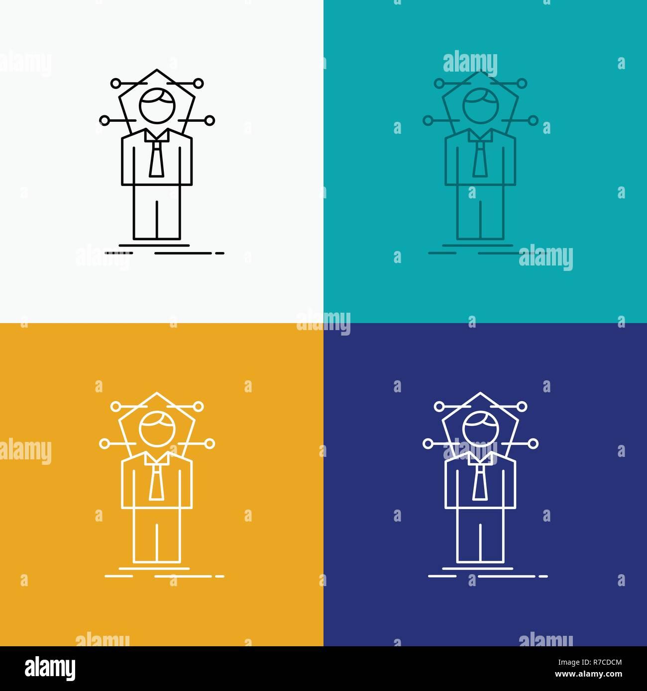 Negocios, conexión humana, red, icono de la solución a través de diversos antecedentes. Diseño de estilo de línea, diseñado para web y app. 10 ilustración vectorial EPS Ilustración del Vector