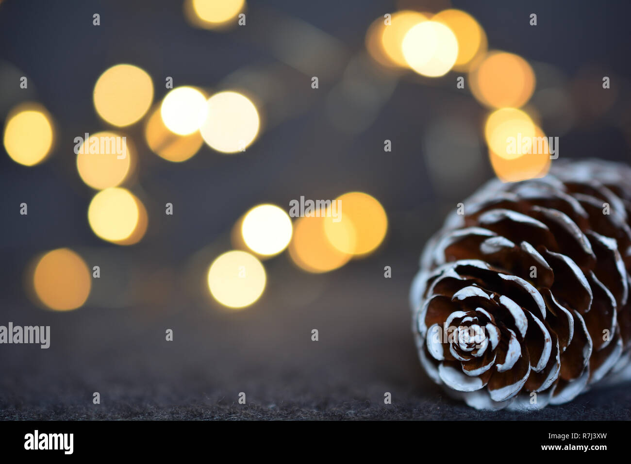 Cono de abeto contra brillando las luces de Navidad Foto de stock