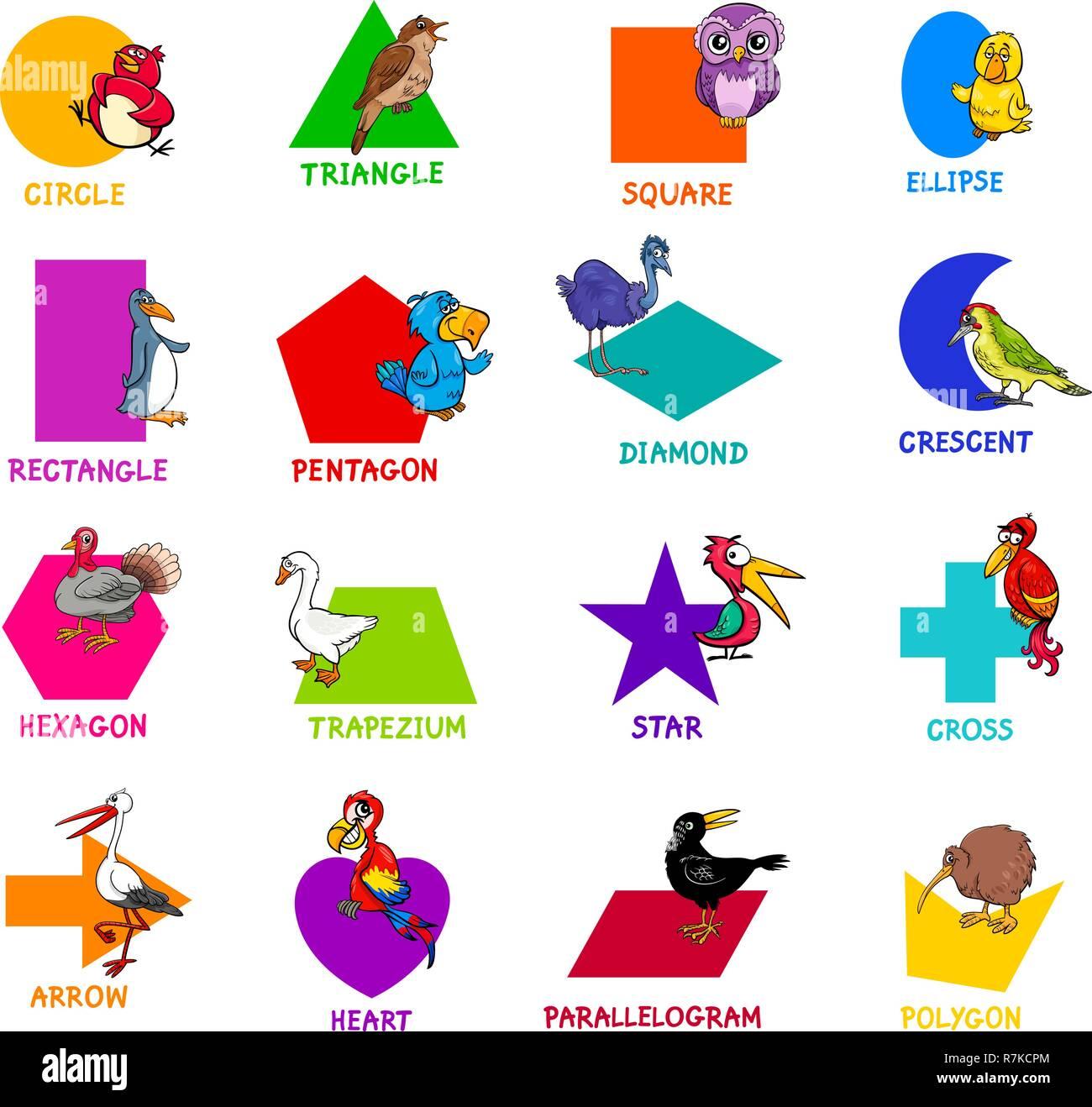 Ilustración De Dibujos Animados Educativos De Formas Geométricas