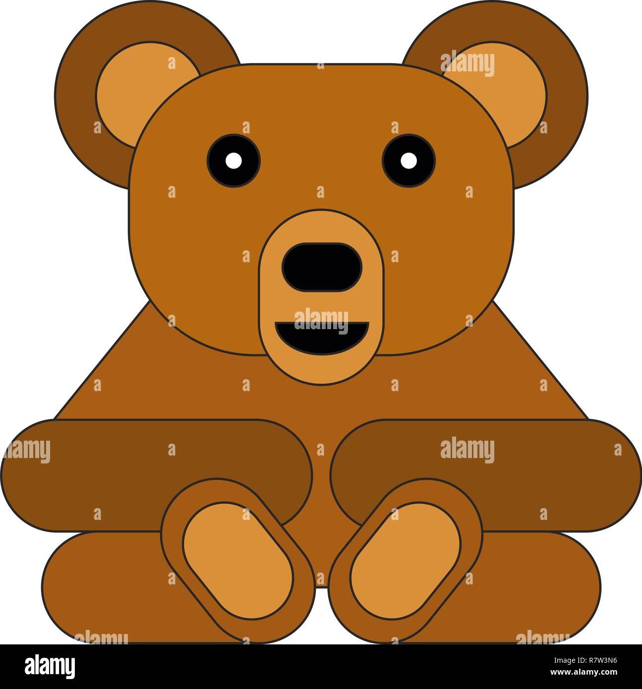 e5da6c888e Piso estilo de dibujos animados oso. Ilustración vectorial sobre fondo  blanco. Imagen De Stock