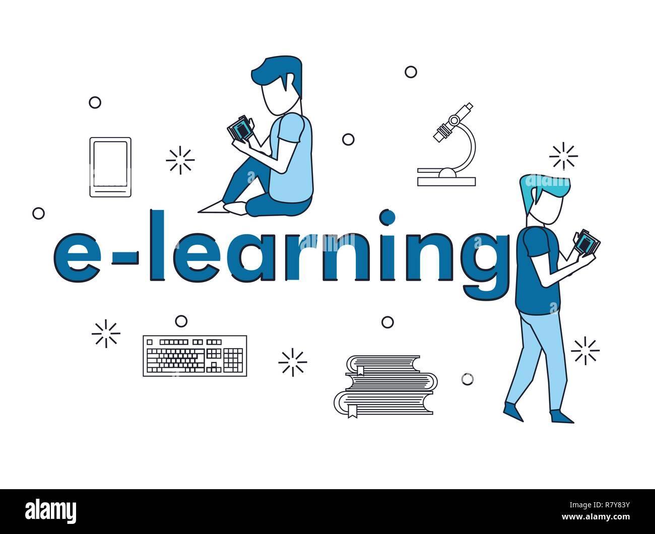 Dos elementos de e-learning Ilustración del Vector