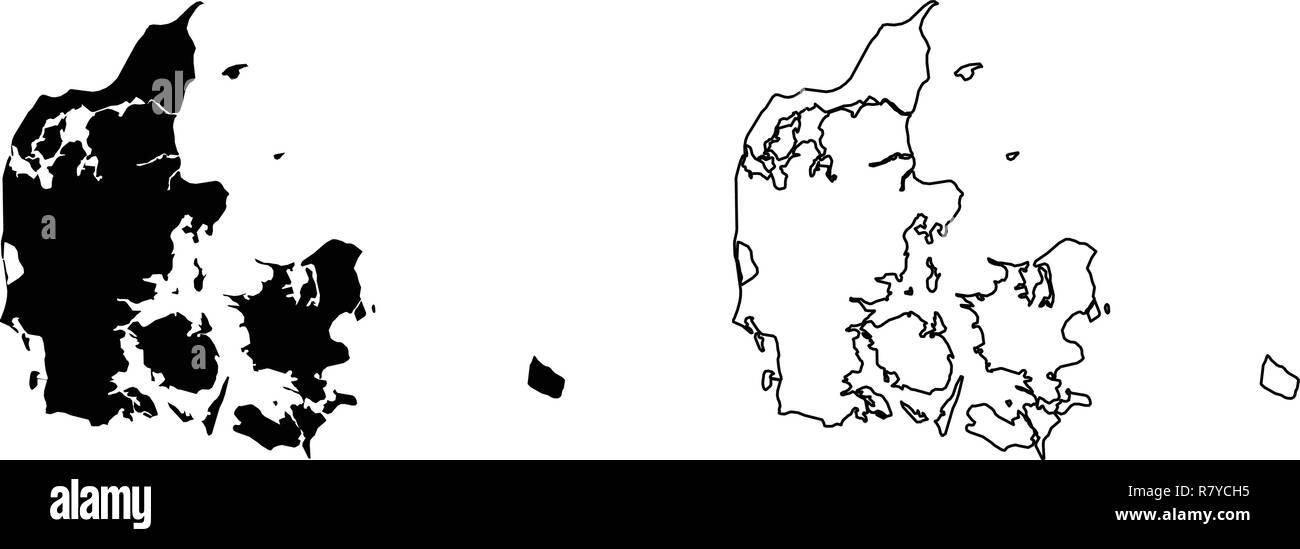 Simple (sólo esquinas afiladas) MAPA DE DINAMARCA (Danmark) dibujo vectorial. Proyección de Mercator. Lleno y versión de esquema. Ilustración del Vector