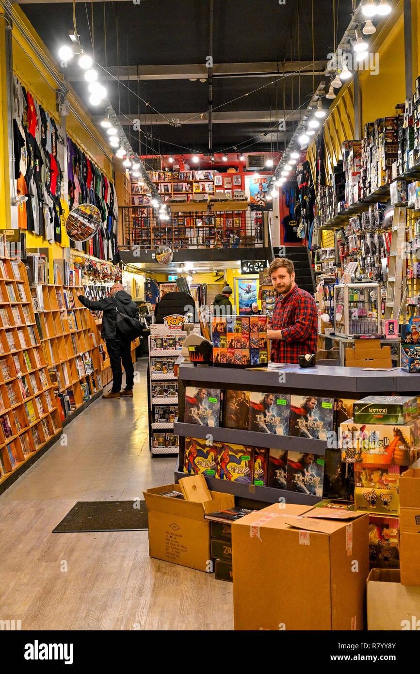 Edad de Oro coleccionables, tienda de cómics, coleccionables, store, tienda, Vancouver, British Columbia, Canadá Foto de stock