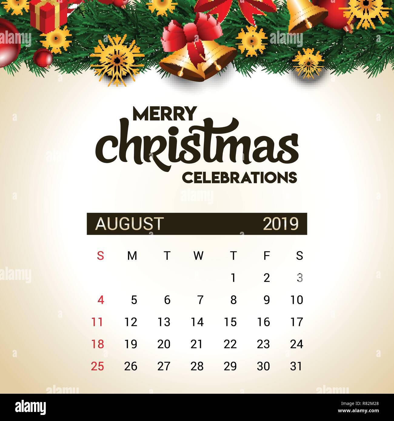 Calendario De Agosto 2019 Decorado.2019 Agosto Plantilla Diseno De Calendario De Navidad O Ano