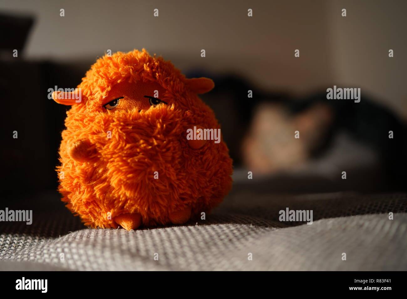 Una oveja de peluche en luz cálida con fondo borroso Foto de stock