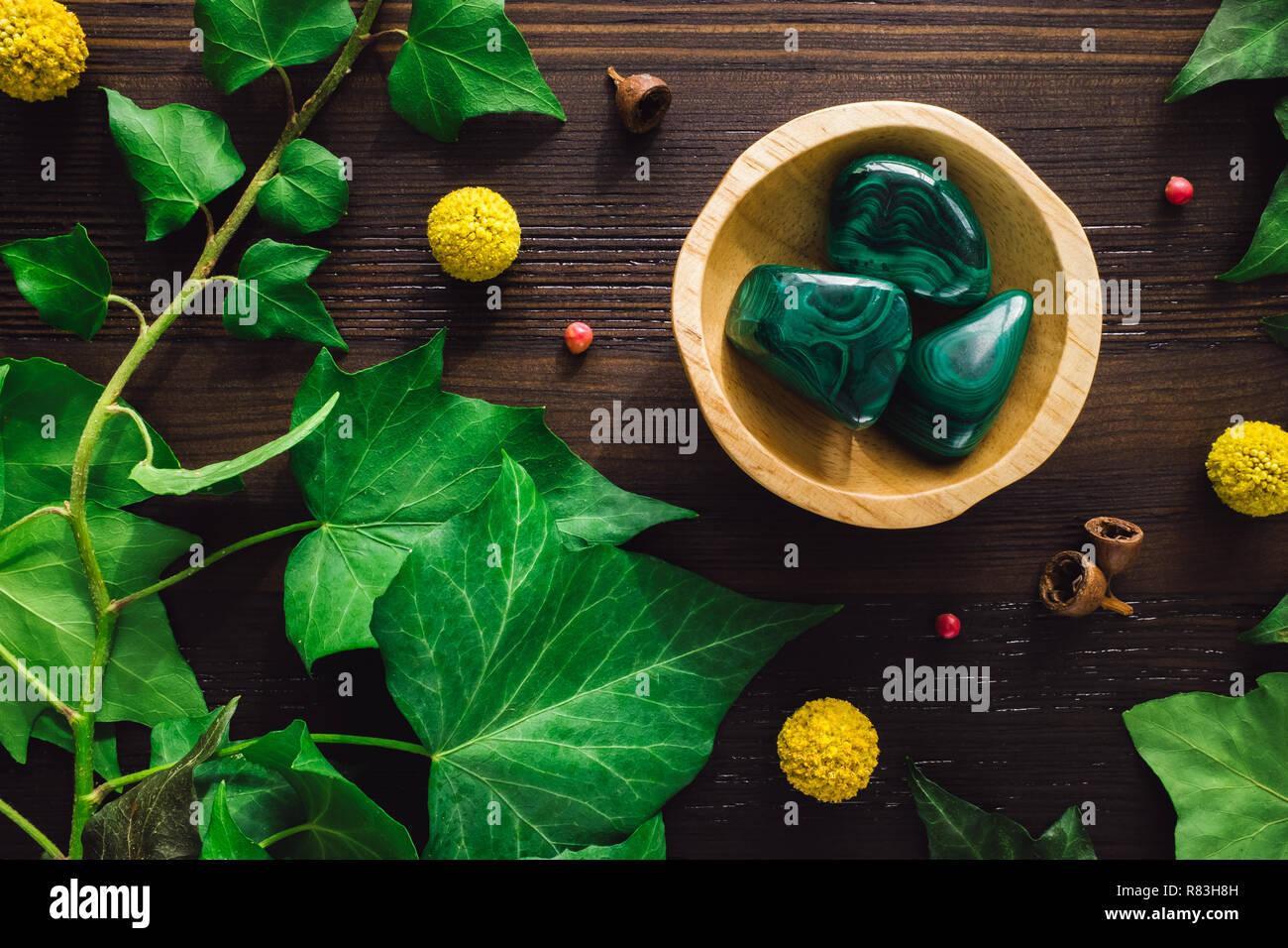 Malaquita pulida con Ivy y Craspedia en madera oscura Foto de stock