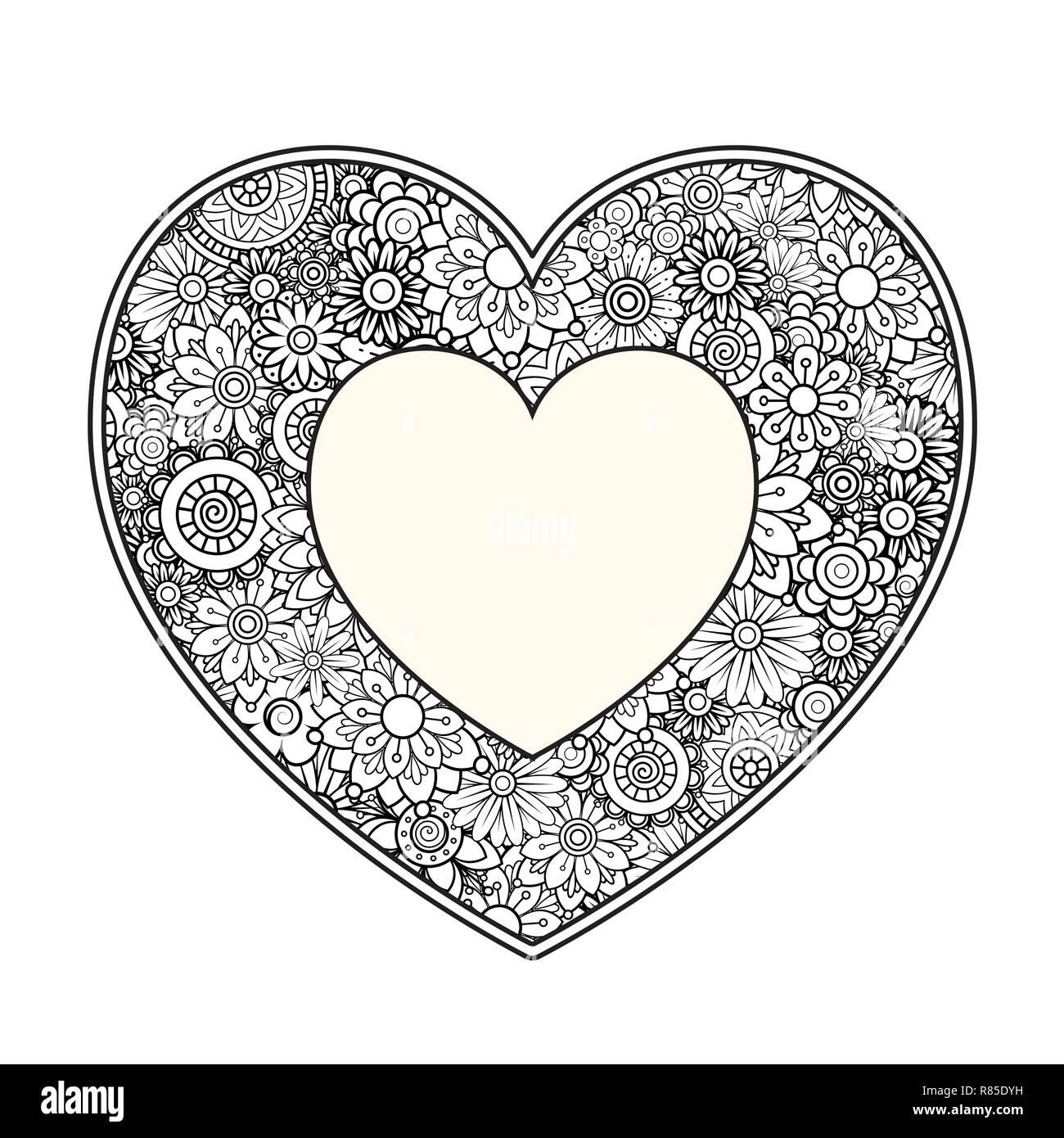Corazón Con Dibujos Florales Día De San Valentín Adulto