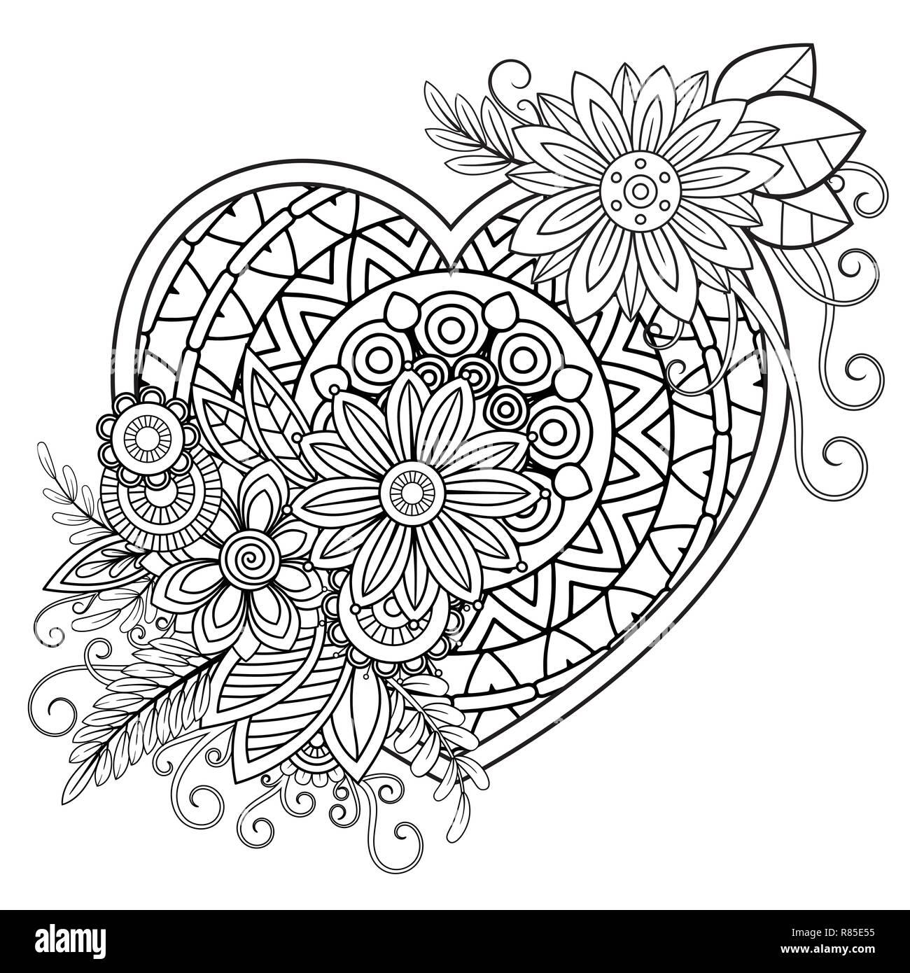 Corazón Con Dibujos Florales Día De San Valentín Adulto Página Para