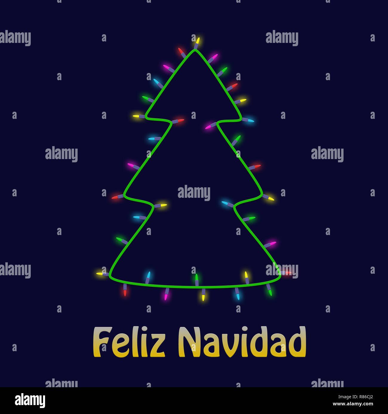 Colorido árbol de Navidad de bombilla garland tarjeta de felicitación de Año nuevo fondo. Feliz Navidad. Imagen De Stock