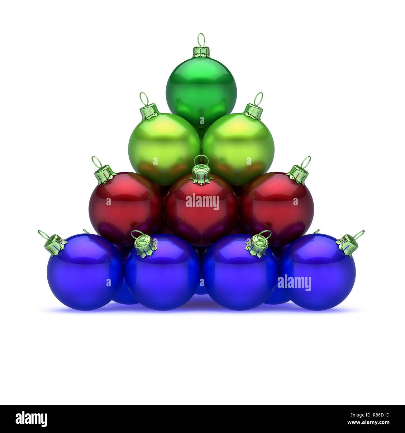 af44e6c6e35 Merry Xmas Navidad pirámide de bolas dispuestas colorido rojo verde azul.  Feliz Día de Año