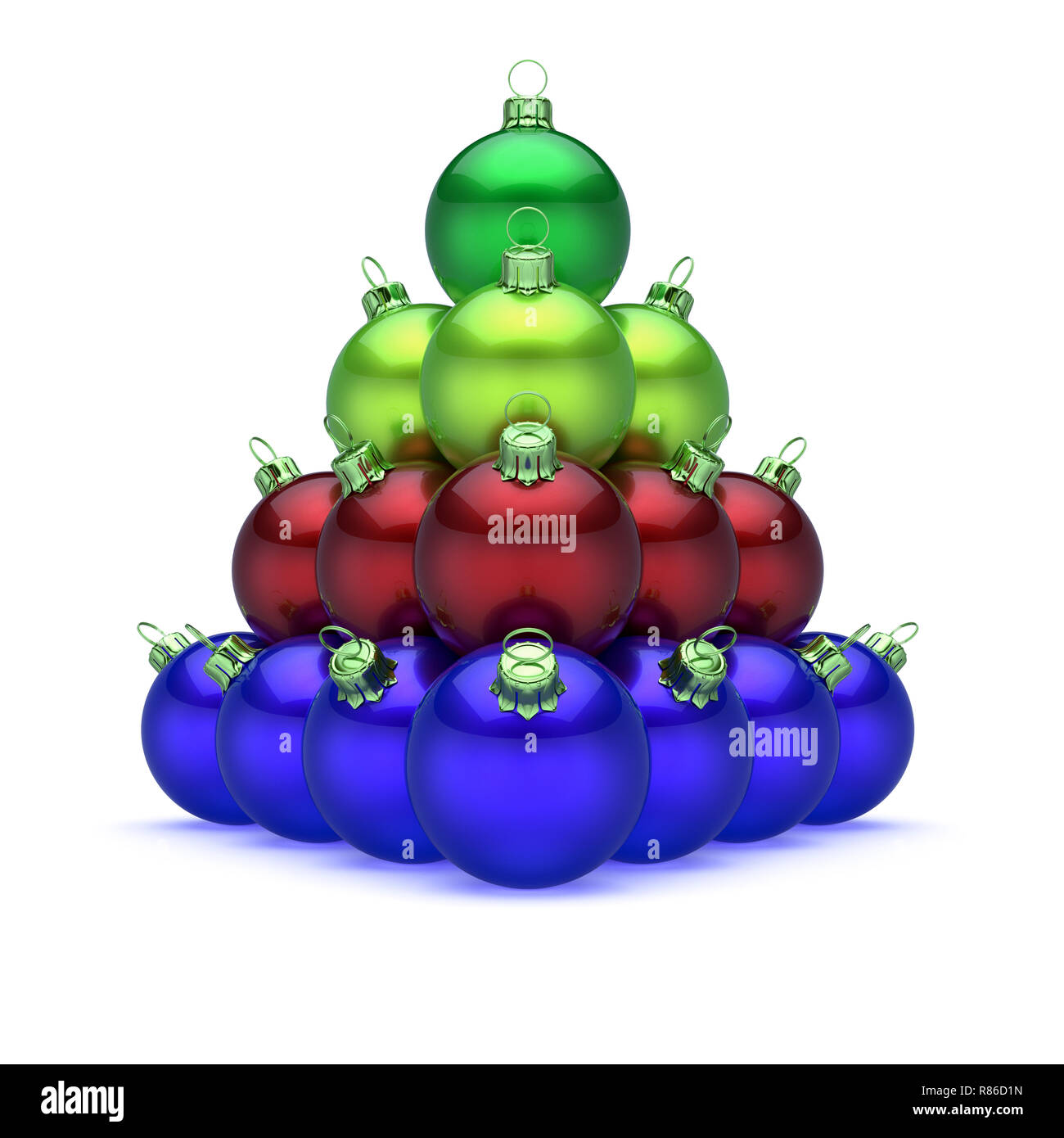 a0716b78000 Bolas de Navidad pirámide colorido azul rojo verde en la parte superior.  Merry Xmas Feliz