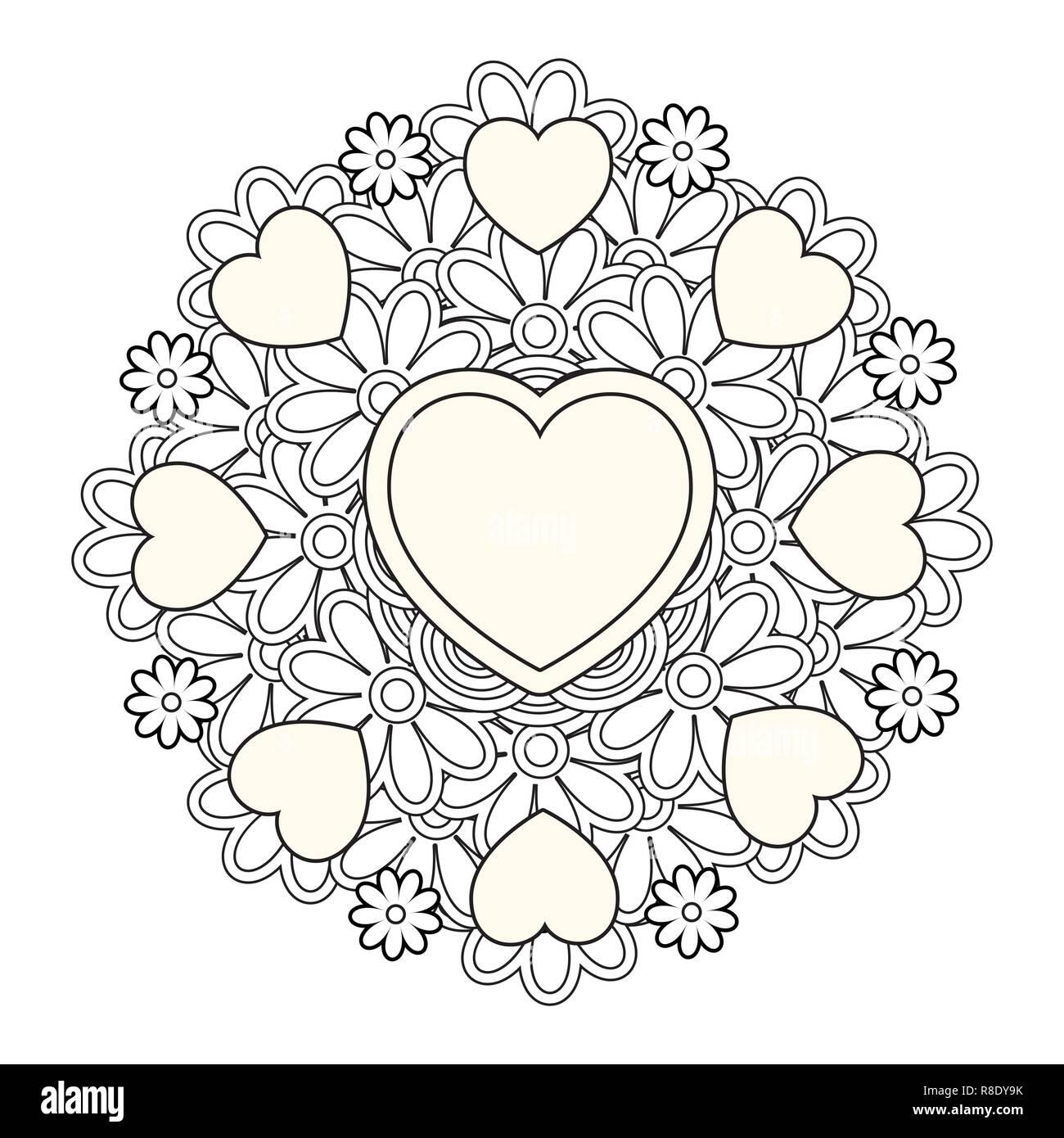 Mandala De Flores Con Corazones. Día De San Valentín