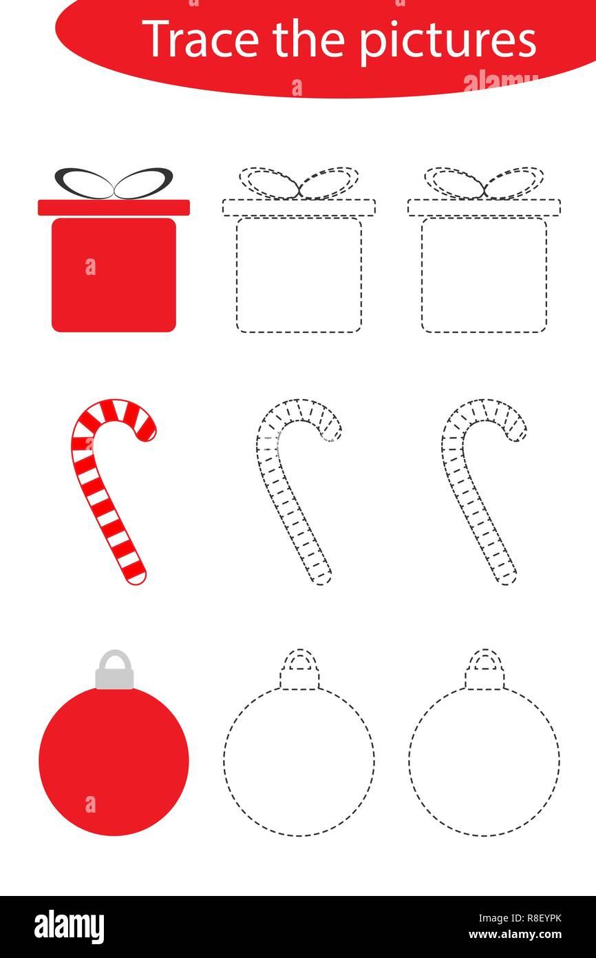 Hoja De Practicas De Escritura A Mano Navidad Traza Las Imagenes