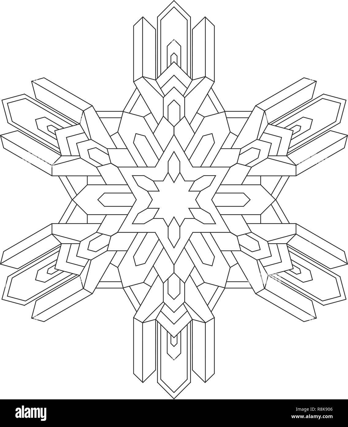 Contornos De Copo De Nieve En El Estilo De Línea Mono Para