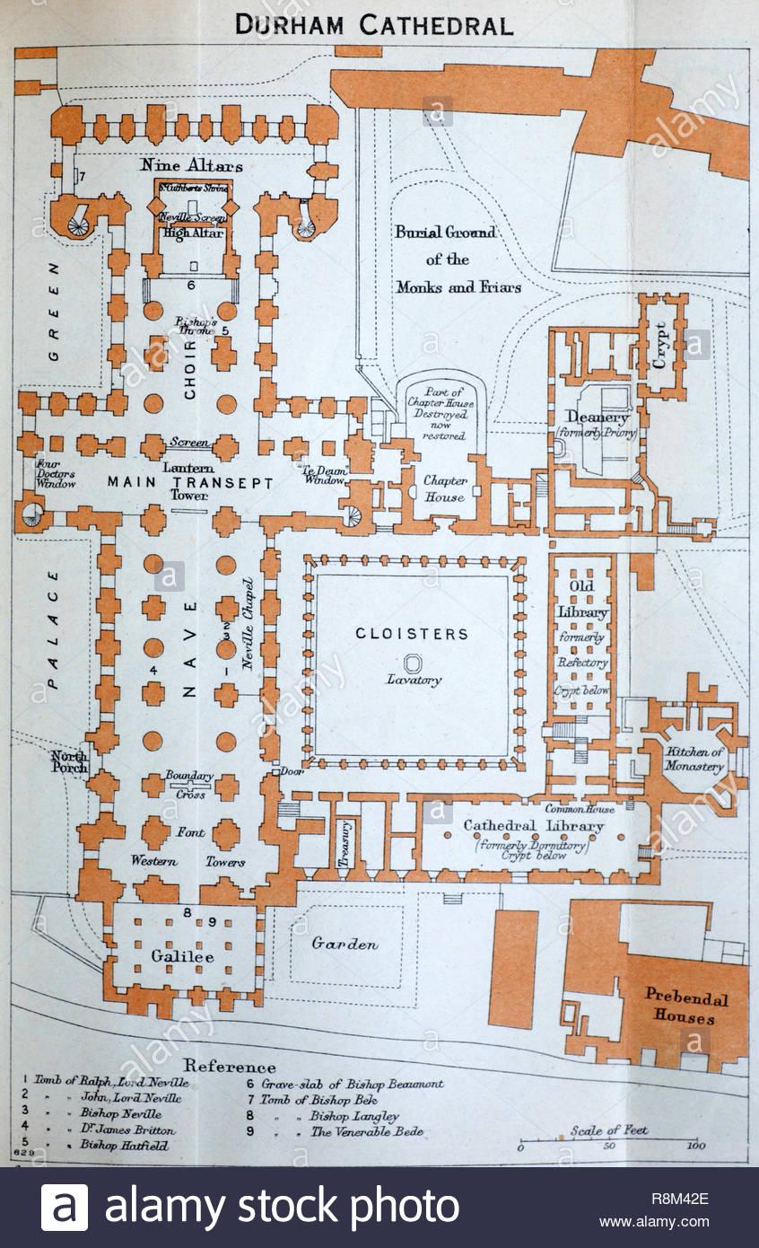 La Catedral De Durham Floor Plan Ilustración Desde Principios De 1900 Fotografía De Stock Alamy
