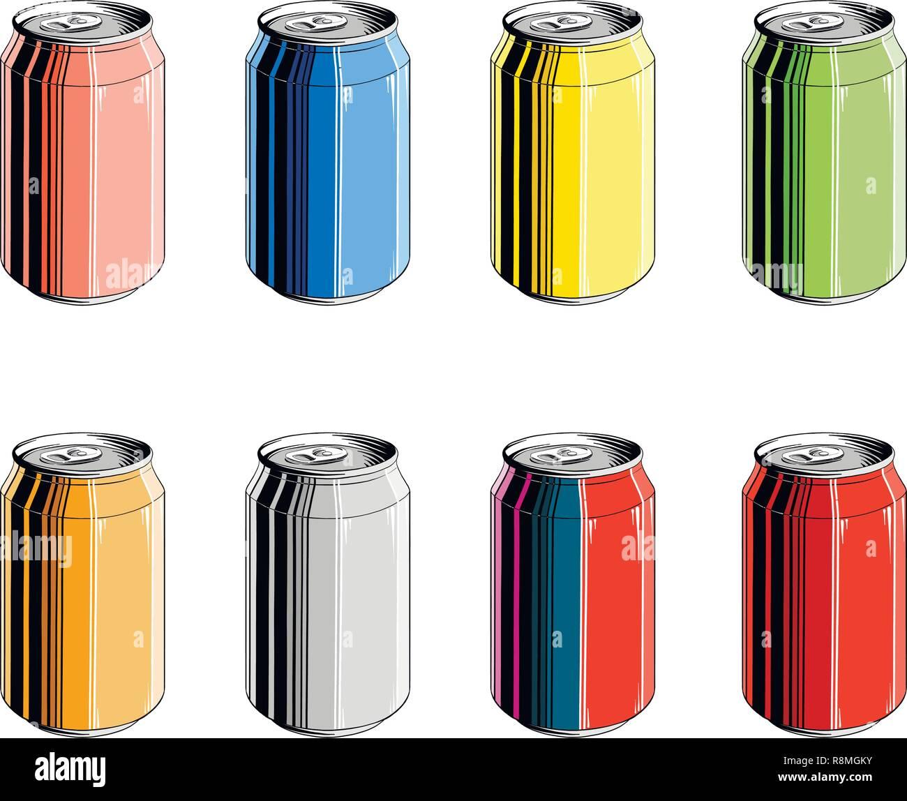 Conjunto De Latas De Aluminio En Color Aislado Sobre Fondo