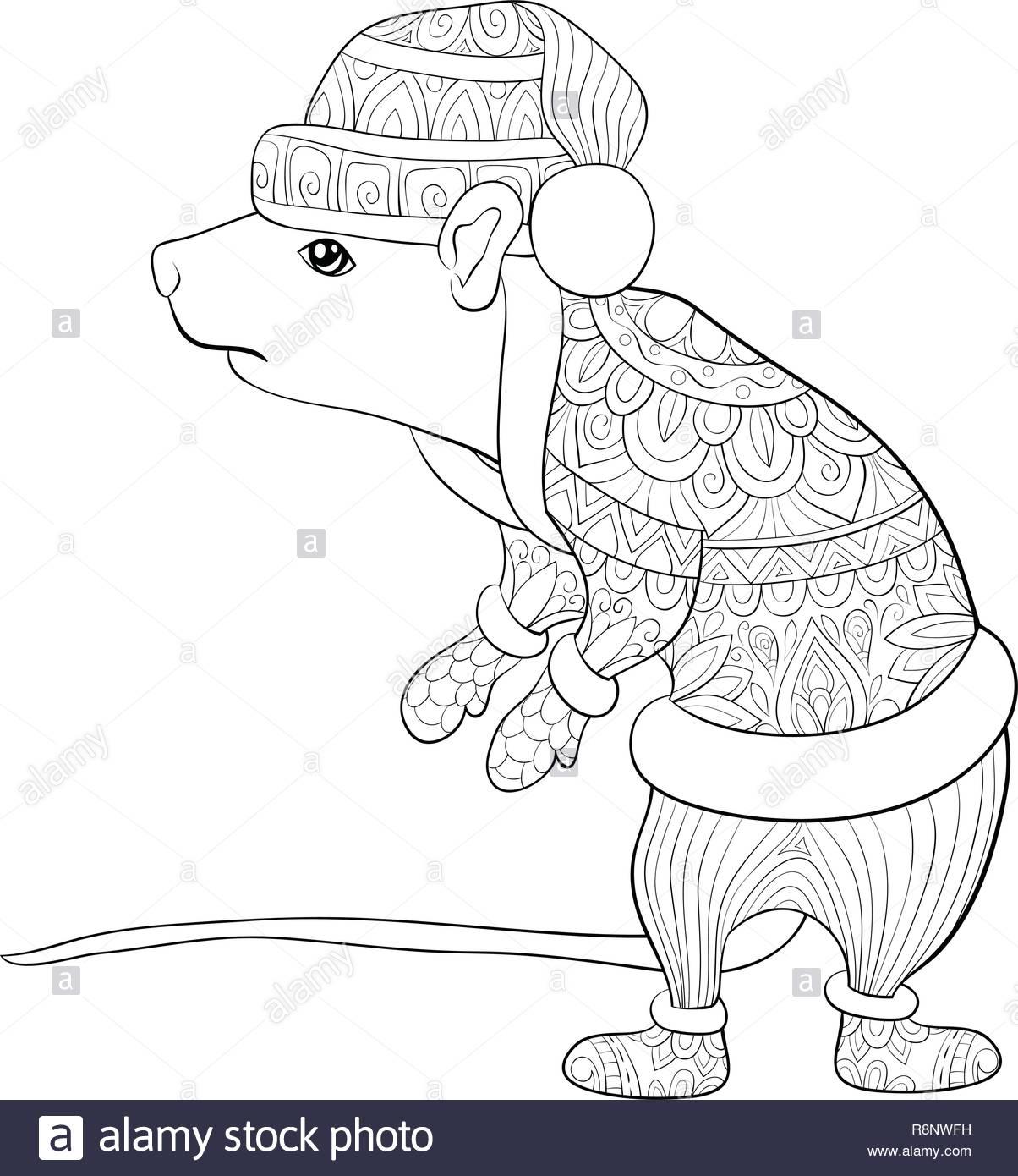 Un Lindo Rat Vistiendo Una Navidad Pacbotasbufandamitones