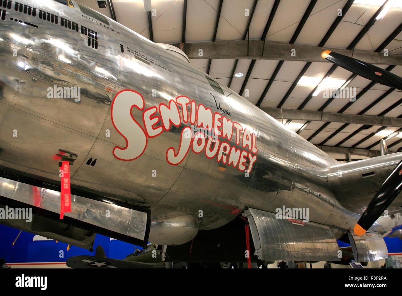 WW2 Boeing B29 Superfortress 'SENTIMENTAL Journey' en la pantalla en el Pima Air & Space Museum de Tucson, AZ Foto de stock
