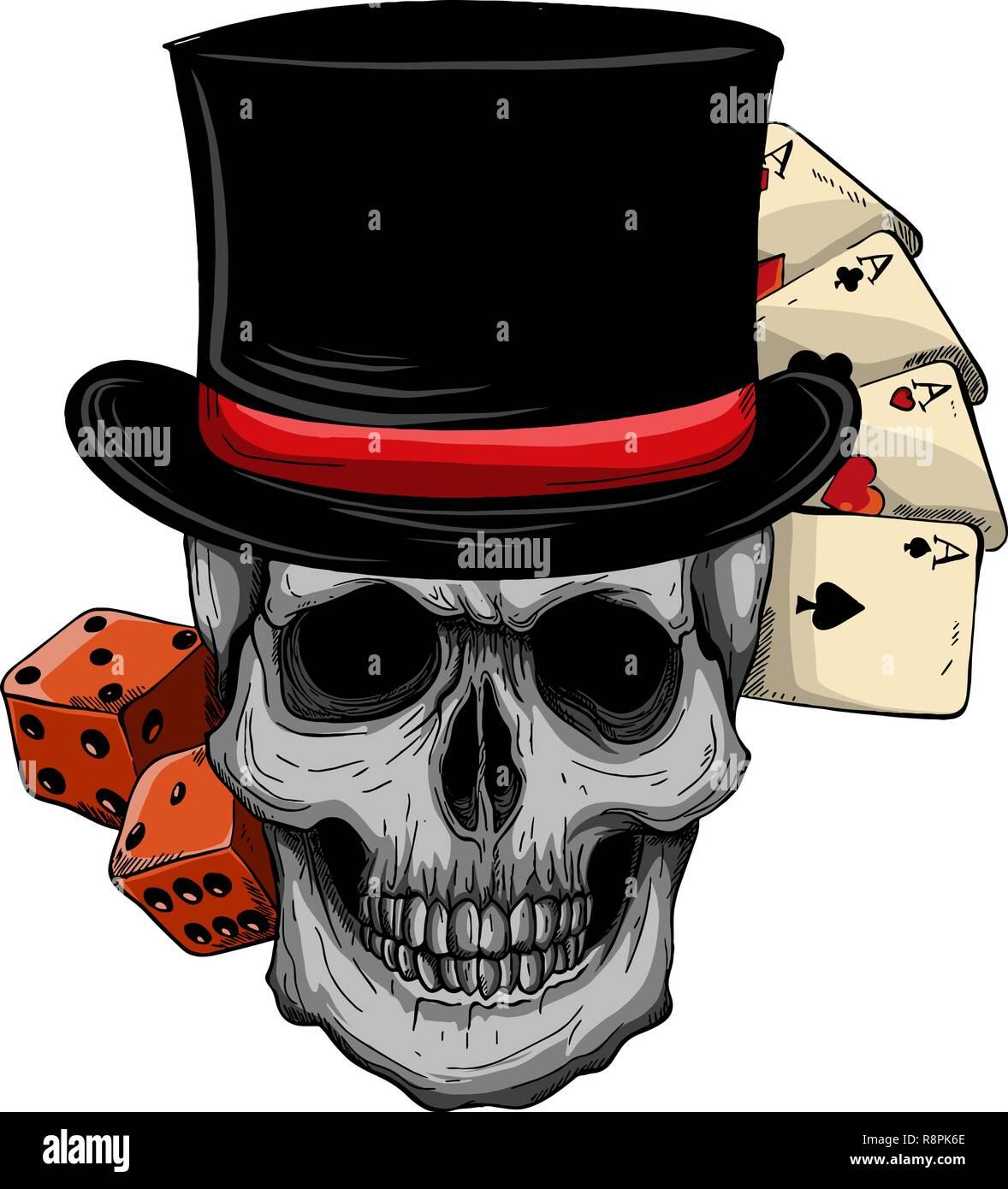 Vector calavera con sombrero de copa y juego de casino. Imagen De Stock b0203791641