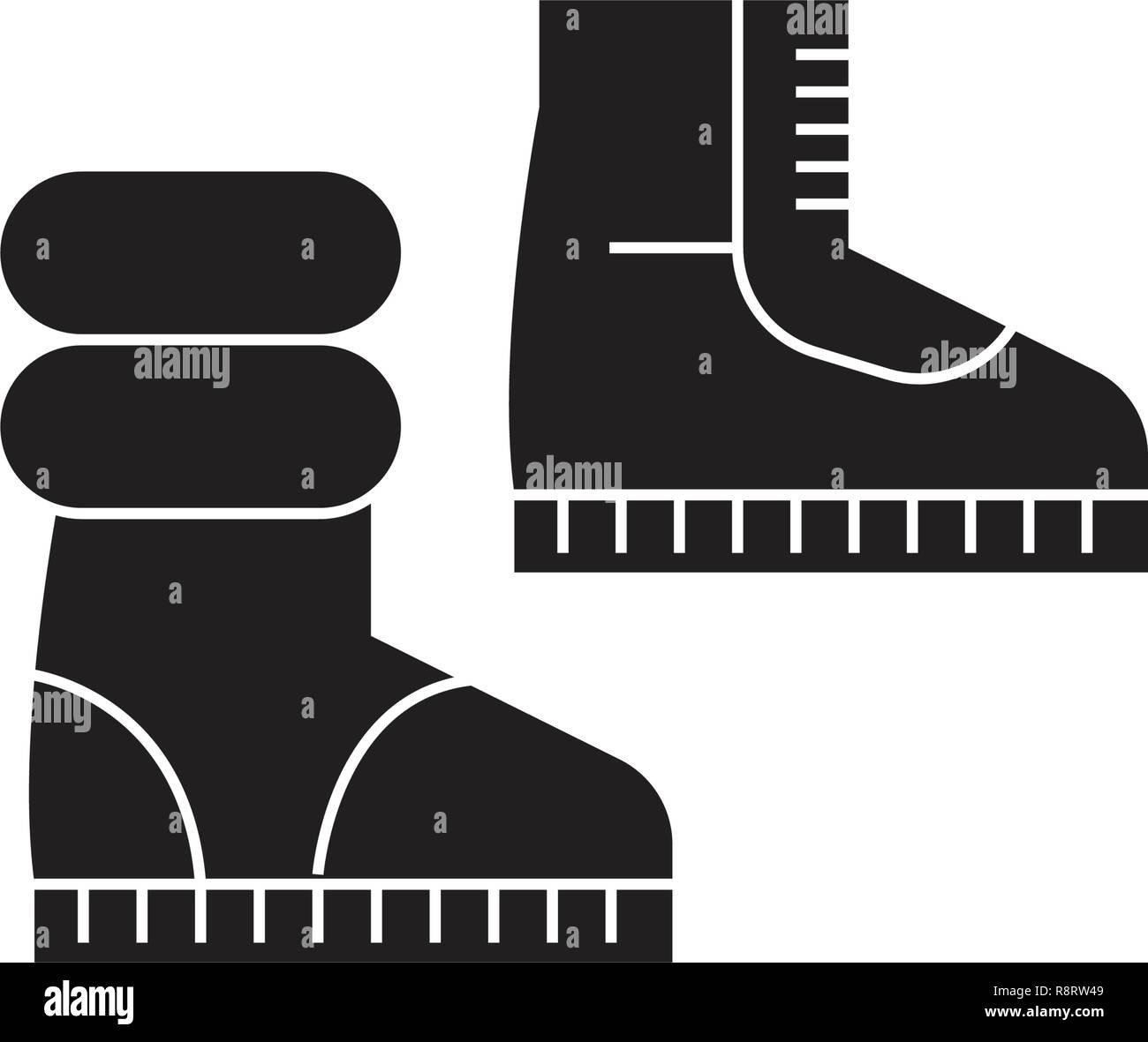 9fb3e34c Botas de invierno concepto vector icono negro. Botas de invierno planas,  signo de ilustración