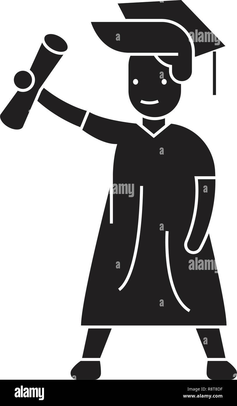50f56e97b El estudiante graduado negro concepto vector icono. Estudiante de posgrado  de Ilustración plana