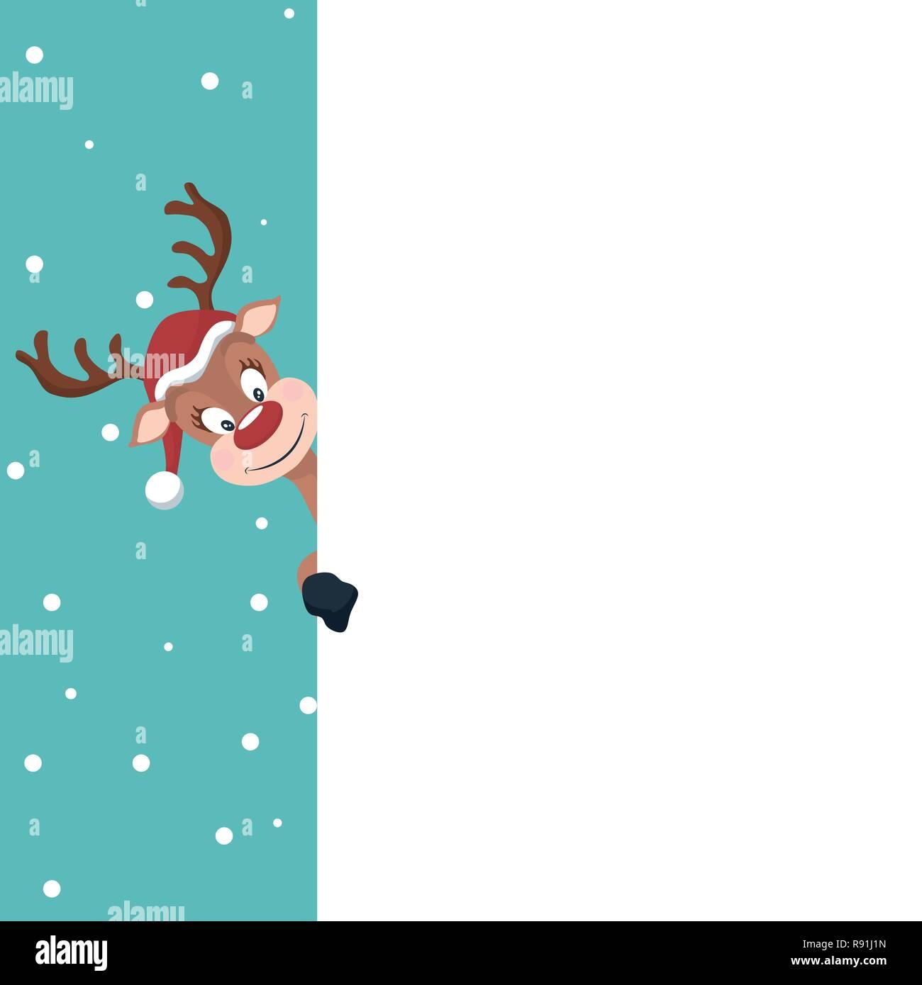 Tarjeta De Navidad Con Reno Fondo Blanco Para Escribir Ilustración