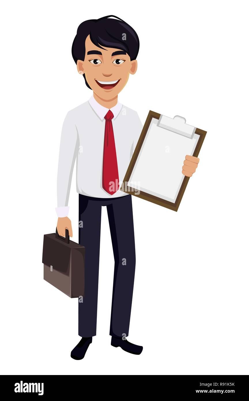 caricatura de hombre ejecutivo en bolsa