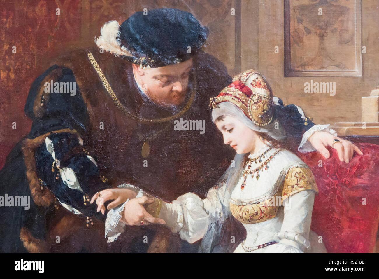 Primera reunión entre Enrique VIII y Ana Bolena. Enrique VIII, 1491 - 1547. El rey de Inglaterra. Ana Bolena, c. 1501-1536. La reina de Inglaterra como Foto de stock