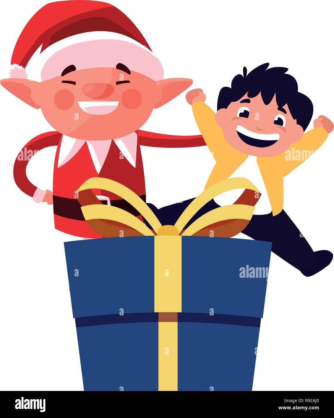 4f8fd005d Duende navideño con chico y don ilustración vectorial Imagen De Stock