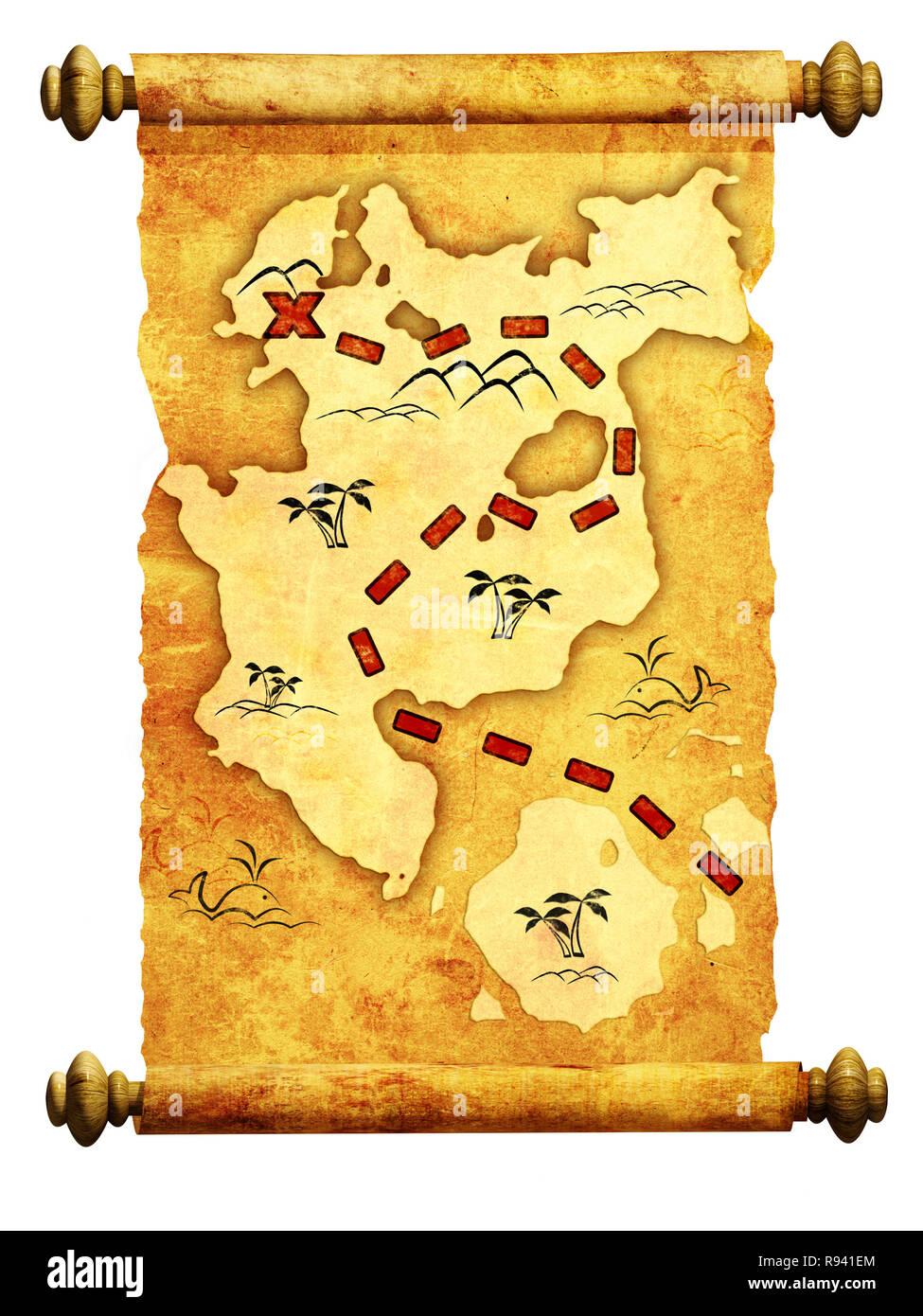 Mapa Pirata Una Forma De Tesoro Foto Imagen De Stock 229355692